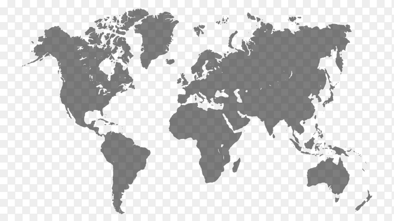World map on transparent PNG