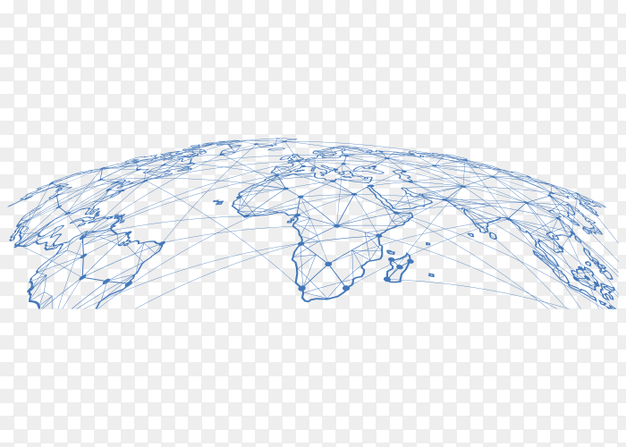 World map on transparent background PNG