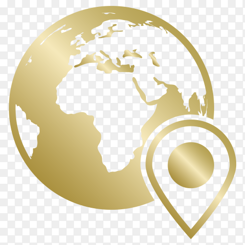 World map with location icon on transparent background PNG