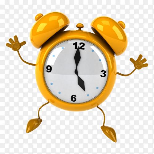 Yellow Alarm clock 3D cartoon  on transparent background PNG