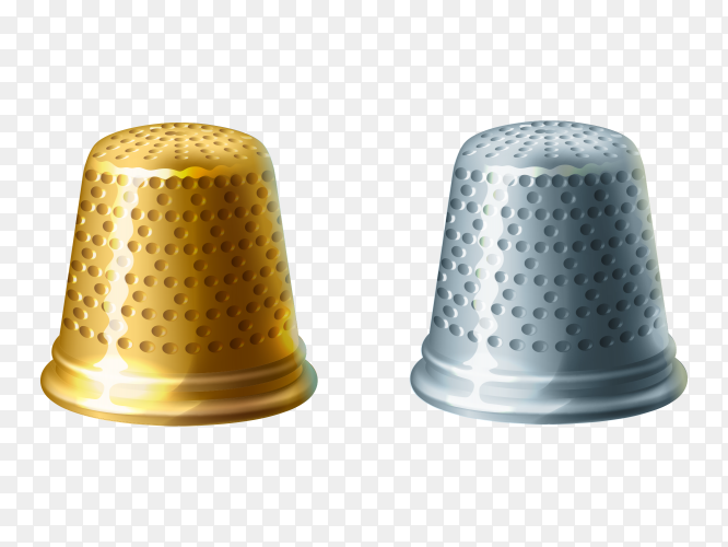 Yellow and Gray Thimble  on trandparent background PNG