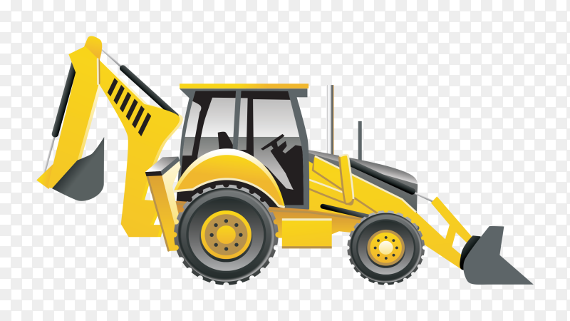 Yellow bulldozer tractor on transparent background PNG