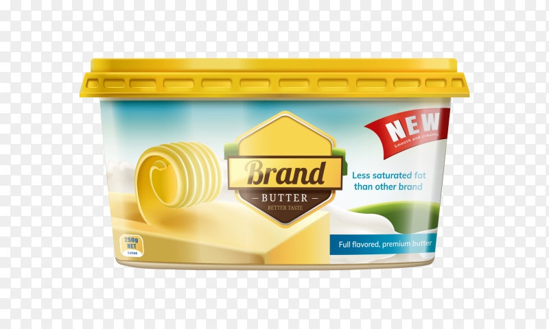 Yellow butter on transparent background PNG