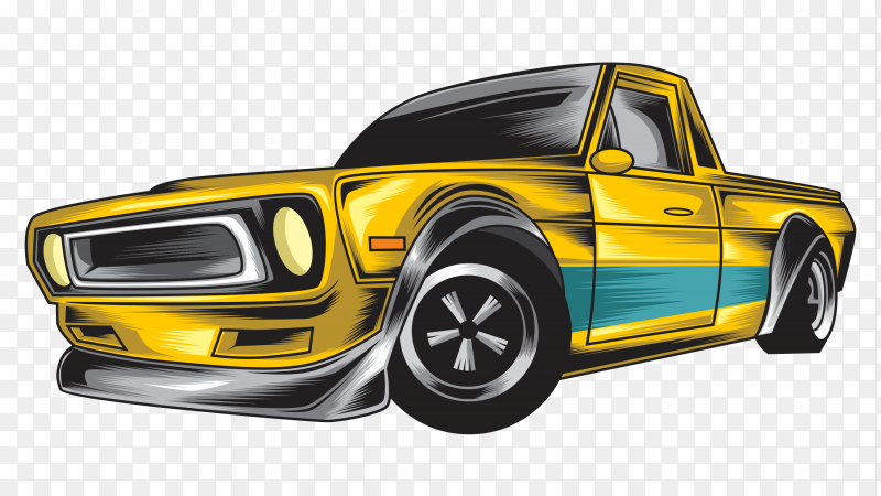Yellow car design on transparent background PNG