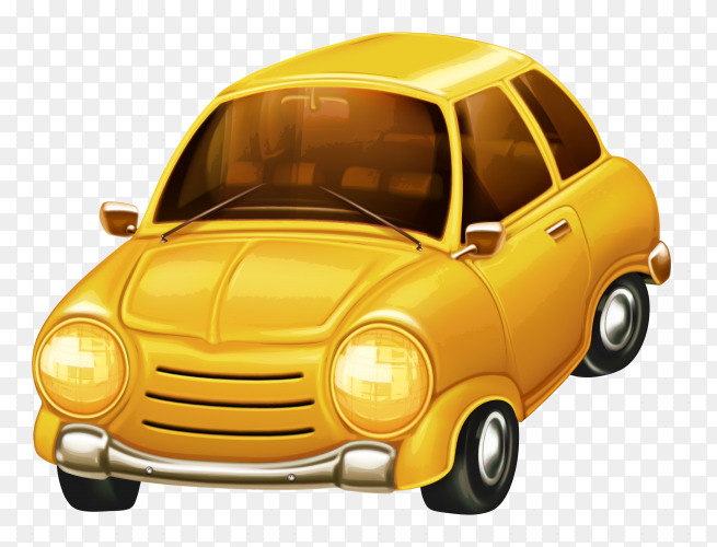 Yellow car on transparent background PNG