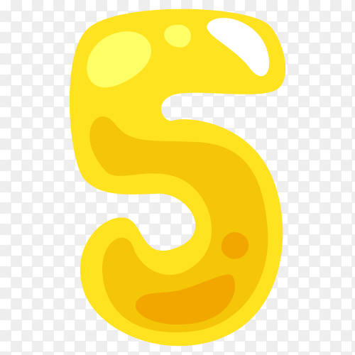 Yellow color shaped number five Clipart PNG