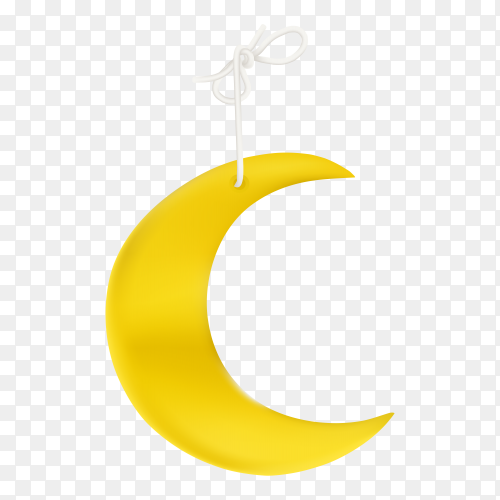Yellow crescent moon isolated Clipart PNG