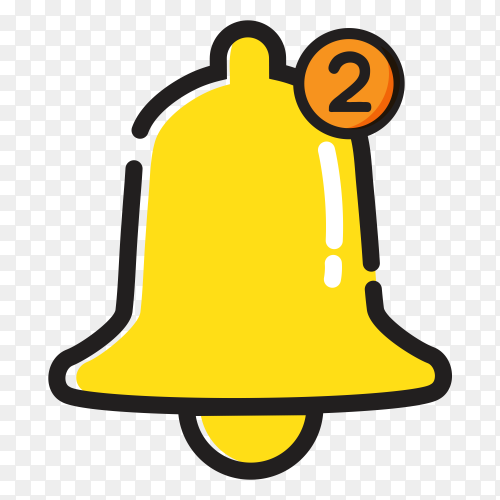 Yellow notification bell icon inbox message alarm vector PNG