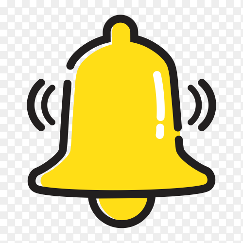 Yellow notification bell icon incoming inbox message alarm Clipart PNG
