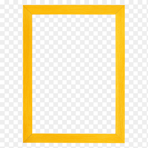 Yellow picture frame design on transparent background PNG