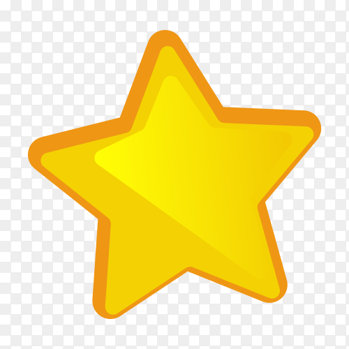 Yellow star on transparent background PNG