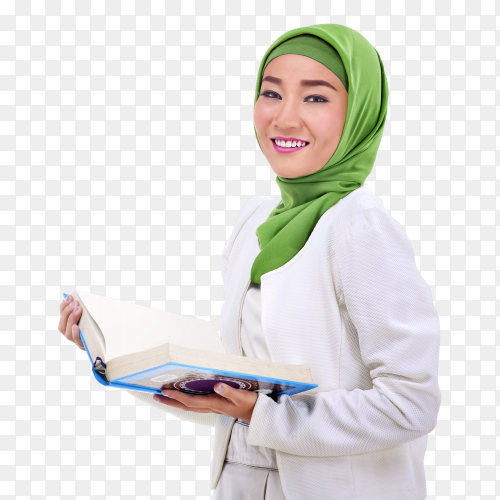 Young asian muslim woman holding the koran Clipart PNG