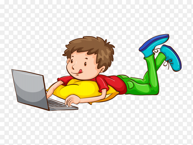 Young boy using laptop on transparent PNG