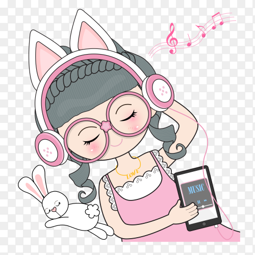Young girl listening music Premium vector PNG