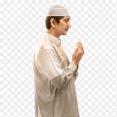 Young muslim man praying to god Clipart PNG
