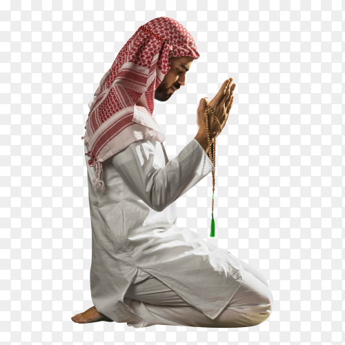 Young muslim man praying to god on transparent background PNG