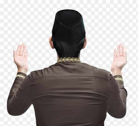 Young muslim man raising hand and pray on transparent background PNG