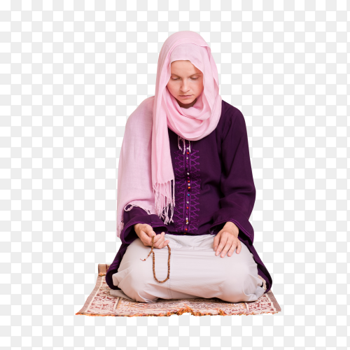 Young muslim woman praying with rosary on transparent background PNG