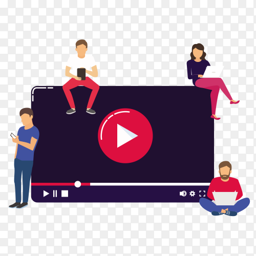 Youtube Video concept illustration young people using mobile on tranaparent background  PNG