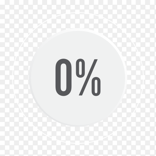 Zero percent blue grey and white pie chart on transparent background PNG