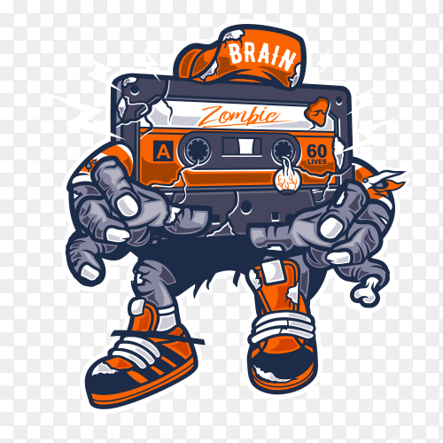 Zombie with Cassette tape on transparent background PNG