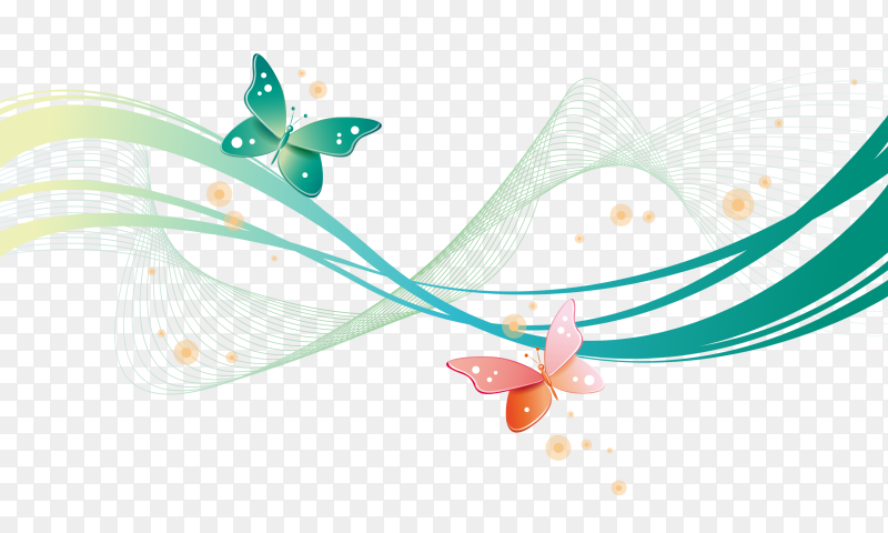 Butterfly shaped waving lines on transparent background PNG