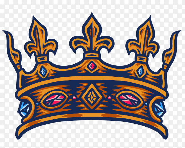 Colorful King crown hand drawn vector PNG