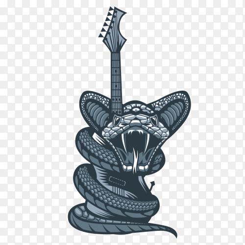 Dangerous viper enveloping guitar  on transparent background PNG