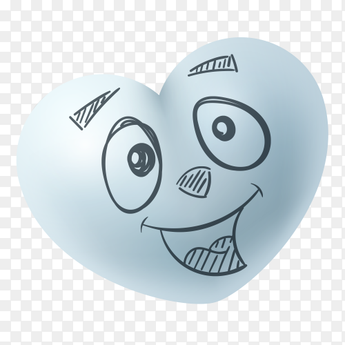 funny hand drawn heart shape on transparent PNG