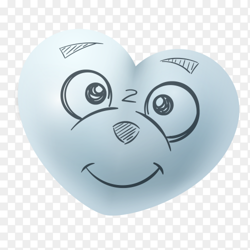 Funny hand drawn  smiling heart shape on transparent background PNG