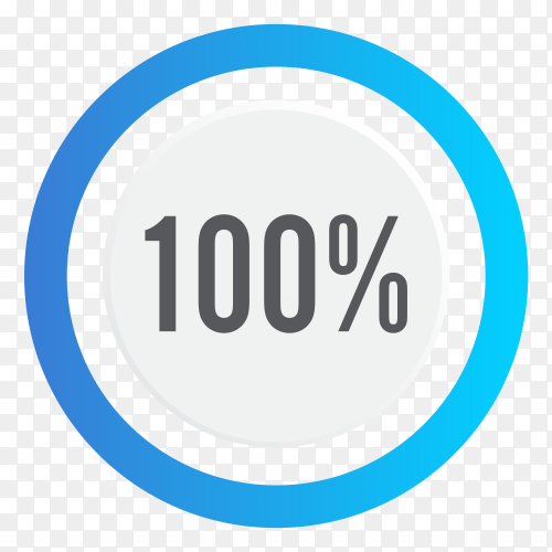 one hundred percent blue grey and white pie chart on transparent background PNG