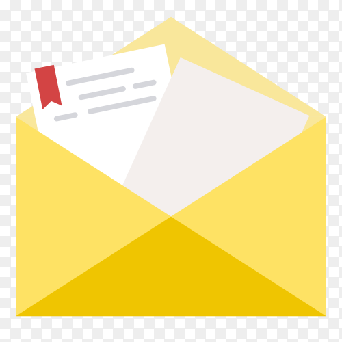 Opened envelope with note paper on transparent background PNG