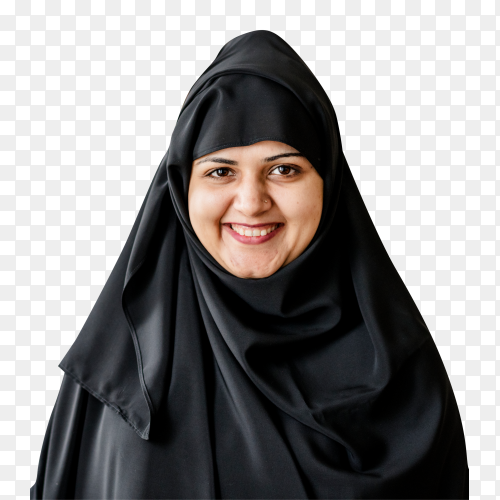 portrait muslim woman on transparent background  PNG