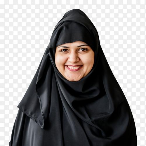 portrait muslim woman on transparent background  PNG