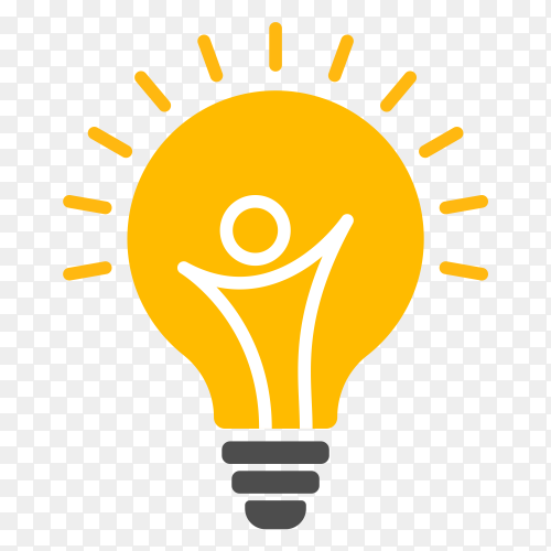 Symbol design of abstract people in a bulb vector PNG