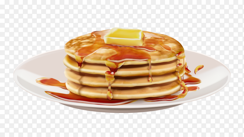 Tasty Pancakes with butter and honey on dish vector PNG