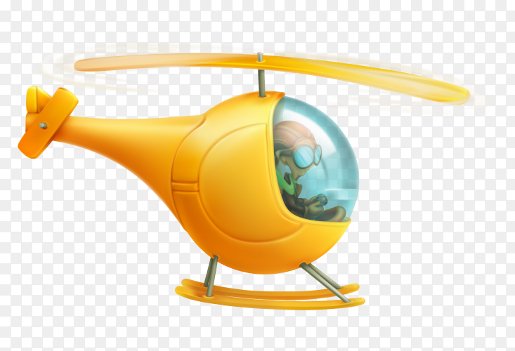 Yellow cartoon helicopter on transparent background PNG