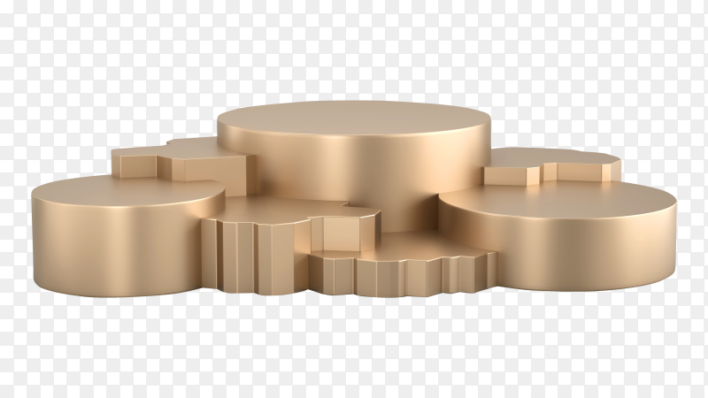 3D Gold metallic podium stand on transparent background PNG