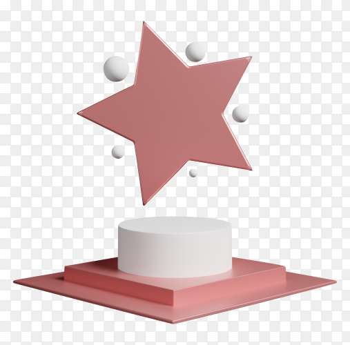 3D abstract design scene with pink podium symbolic star on transparent background PNG