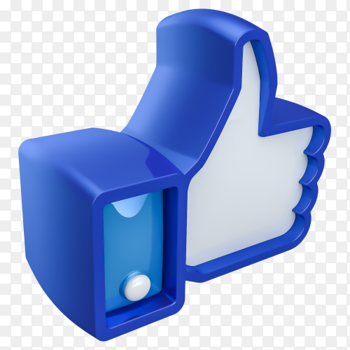 3D facebook Like icon on transparent background PNG