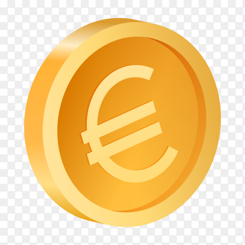 3D gold coin euro clipart PNG
