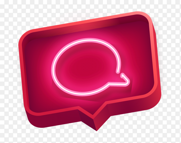 3D message icon on transparent background PNG