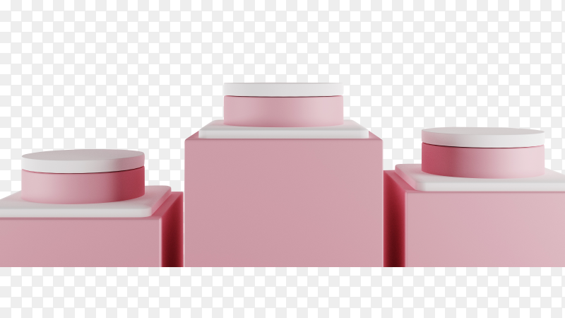 3D minimal pastel scene with pink podium on transparent background PNG