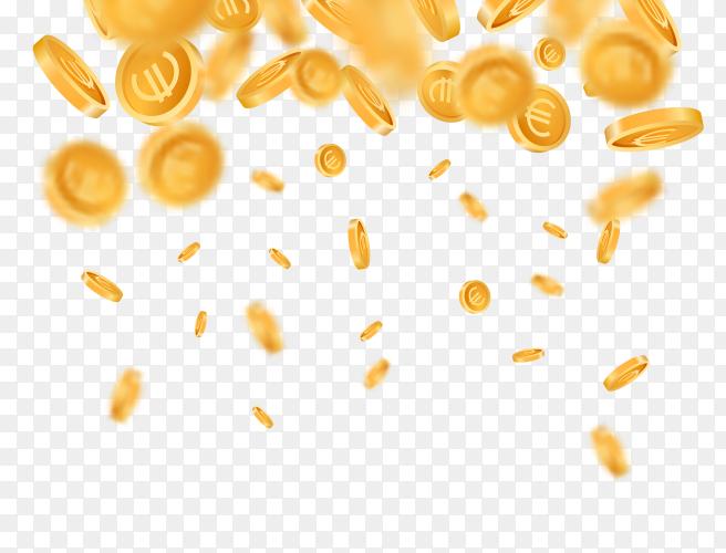 3D realistic falling golden metallic coins Clipart PNG