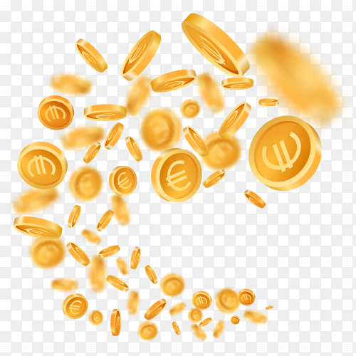 3D realistic falling golden metallic coins on transparent PNG