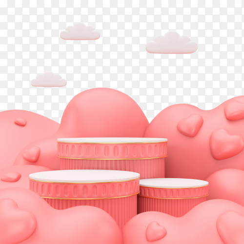 3D render Pink podium with Pink heart on transparent background PNG