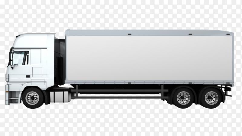 3D render cargo delivery truck on transparent background PNG