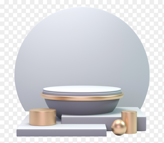 3D render classic Silver and gold podium Premium vector PNG