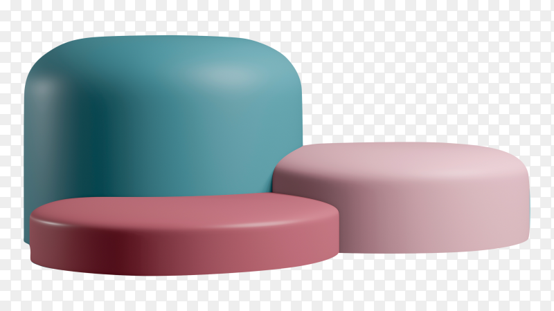 3D render minimal style podium pedestal colourful paste Clipart PNG