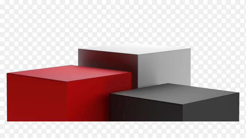 3D render red , black and white geometric shapes podium minimal style on transparent background PNG